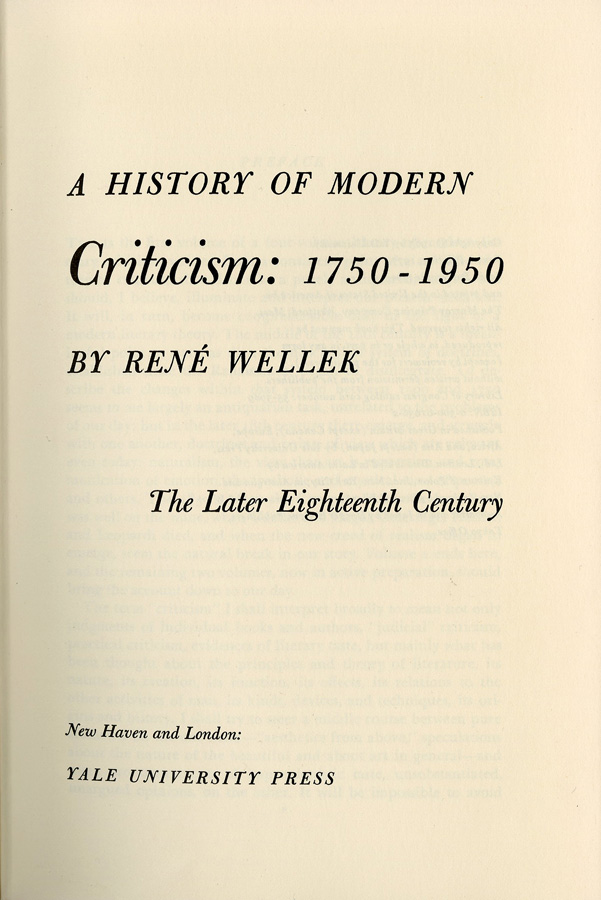 Title page of volume 1 of Rene Wellek's History of Modern Criticism: 1750-1950