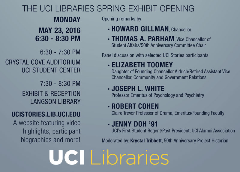 UCI Stories Program. May 23, 2016.